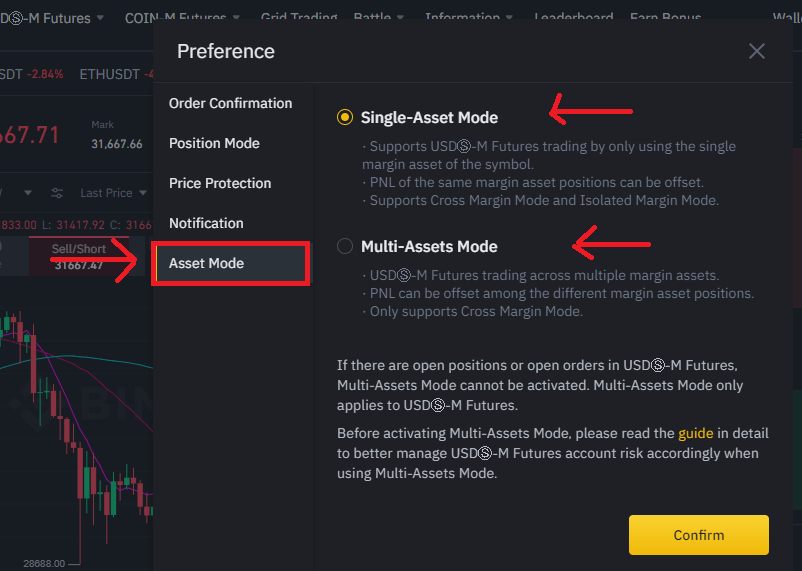 Switching between Single and Multi-Assets Mode Binance